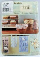 2005 Simplicity Sewing Pattern #0549 Winnie the Pooh Nursery Organizers 5435F