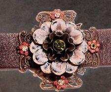 Liz Palacios Bracelet Crystal Swarovski Flower Brass Gold Antique Leather