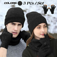 Men Women Beanie Hat Winter Warm Cap Scarf Touchscreen Gloves Thermal Ski Set US