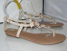 verano Beis / Tono de piel zapatos mujer FLOR SANDALIAS PLANAS TALLA 7