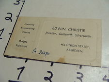 Vintage Travel Paper:ENGLISH ABERDEEN business card Jeweller, gold, silver