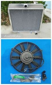 Aluminum Radiator for Ford Chevy Bel Air W/Cooler V8 55 56 57+ 14 inch Fan 3 Row