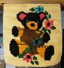 LARGE LATCH HOOK TEDDY BEAR WITH FLOWERS COMPLETED RUG / WALL HANGING W/ HANGER