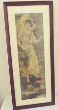 ORIGINAL 1918 YARD LONG PRINT - BEAUTIFUL LADY UMBRELLA FLOWERS - LISTER
