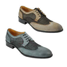 Mens Real Leather and Tweed Upper Retro Vintage Lace up Smart Dress Brogue Shoes