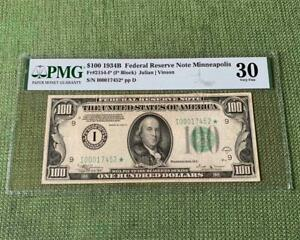 ⭐️TOUGH VINSON STAR⭐️ 1934B $100 Minneapolis FRN - PMG Very Fine VF 30 - C2C