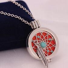Aromatherapie ätherische Öle Feder Türkis Medaillon Halskette mit Pads POP