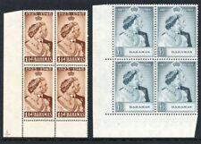 Conjunto De Boda De Plata Bahamas 1948 KGVI en bloques de 4 estampillada sin montar o nunca montada. SG 194-195. SC 148-149.