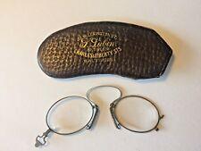 Antique BALTIMORE Pinch Eye Glasses Case S. Lubin Vintage 1893 Lorgnons Optician