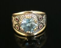 925 Sterling Silver 925 Aquamarine Vintage Turkish Handmade Ring 6-12
