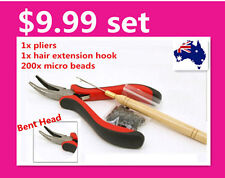 Set of Hair Extension Tool Kit Pliers + Pulling Needle + 200 Black Micro Beads