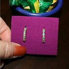 Natural Emerald Diamond Hoop 18mm Earrings Gift Box 14k Yellow Gold over 925 SS