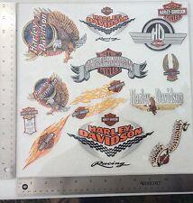Lot Of 14 Vintage Harley-Davidson Decals, Inside Window Older Harley Stickers.