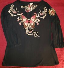 JWLA JOHNNY WAS Black Butterfly G.Barbier almanach pour V Neck RARE Tunic EUC