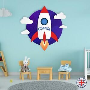 Personalised Name Rocket Space Ship Vinyl Wall Sticker Boys Bedroom Kids Nursery