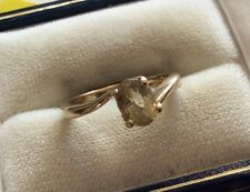 Beautiful Ladies Hallmarked Vintage Solid 9ct Gold Citrine Solitaire Ring - K