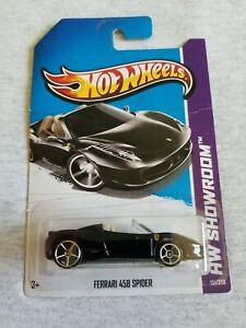 2013 Hot Wheels FERRARI 458 SPIDER Black 151/250 BENT CARD International
