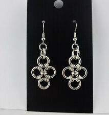Silver Chain Mail Jump Ring Dangle Earring Set Handcrafted