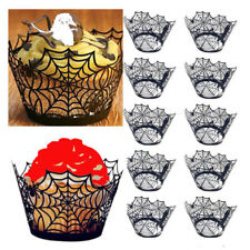 New 12Pcs Halloween Spider Cake Cupcake Wrappers Paper Cake Toppers For Festival