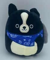 "🐶 SQUISHMALLOW 4.5"" TOMMY BORDER COLLIE Blue Bandana Scarf Mini Plush Toy Stuff"