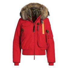 Parajumpers Womens Red Gobi Scarlett Down Fur Hooded Bomber Jacket XS