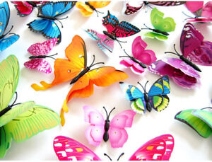 12Pcs 3D Double Layer Wing Butterflies Wall Sticker Magnet Stickers