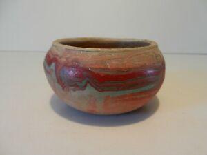 "Signed NEMADJI BADLANDS POTTERY Clay 4"" Pot Vase Planter ORIGINAL DAKOTA Swirl"