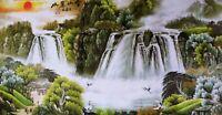 STUNNING ORIENTAL ASIAN ART CHINESE SANSUI WATERCOLOR PAINTING-Waterfall&Crane
