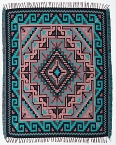 Authentic Mexico Accent Throw Native Style Blanket 4'x5' Southwest Two Gray Hill