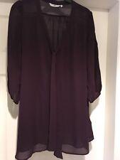 Ladies New Look Purple Chiffon Blouse Size 10