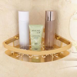 Aluminum Bath Single Tier Triangular Shower Caddy Shelf Bathroom Corner Gold