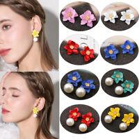 Elegant Women Flower Pearl Drop Dangle Earrings Ear Stud Fashion Party Jewelry