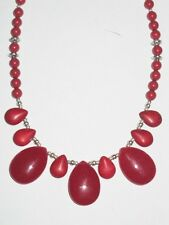 "Gemstone Jewellery  RED GEMSTONE & SWAROVSKI PEARL ""Teardrop"" necklace"