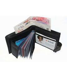 Mens Real Leather Wallet Luxury Soft Black Quality With Credit Card Holder 107