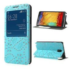 Tasche Hülle Flip Cover für Samsung Galaxy NOTE 3 FENSTER GLITZER BLAU PP