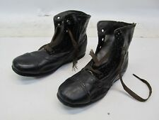 VINTAGE VICTORIAN BLACK LEATHER BABY / TODDLER LACE UP BOOTS - SIZE 5 1/2