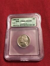 1981-S Type 1 Jefferson Nickel PR69DCAM  Proof 69 Deep Cameo Filled 'S'