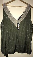 M&S Collection Size Uk24 Sleeveless Lace Trim Camisole Top, KHAKI MIX bNWT