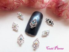 3D Nail Art Small Silver Filigree Lace AB Jeweled Rhinestone Metal Alloy Gems