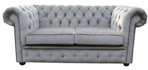 Chesterfield Brand New 2 Seater Nuovo Ash Grey Fabric Sofa Settee Velvet