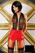 Robe sexy porte jarretelles vinyl rouge haut résille transparent tenue libertine