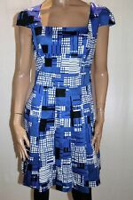 REVIEW Brand Blue Cap Sleeve Box Pleat A Line Dress -No Belt- Size 12 BNWT #TU23