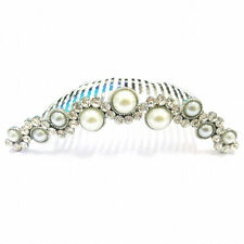 Bridal Wedding Vintage Style Silver Crystal & Pearl Wavy Hair Comb Slide HC20