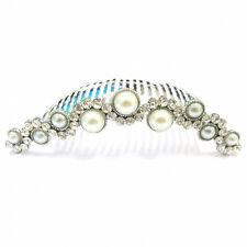 Nuptiale mariage cristal argent style vintage & Pearl cheveux ondulés peigne diapositive HC20