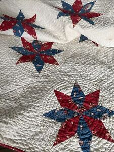 Vintage Red White Blue Calico Star Quilt