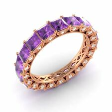 Certified 3.49 Ct Princess Amethyst & Diamond Eternity Band Ring 18k Rose Gold