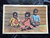 "Vintage Postcard Black Americana ""Three of a Kind"" Color Litho on Linen Unposted"