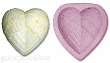 ANGEL WINGS HEART #2 Large Craft Sugarcraft Sculpey Silicone Rubber Mould