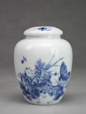 """Chinesische Teedose Porzellan """"Spielende Kinder"""", Keramik blau-weiß"""