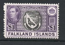 FALKLAND ISLANDS George VI £1 H93c Grey-Black and Bluish  1944 ptg.Verified  MNH